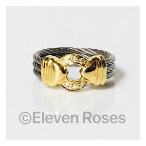 Charriol Three Row Cable Diamond Nautical Ring
